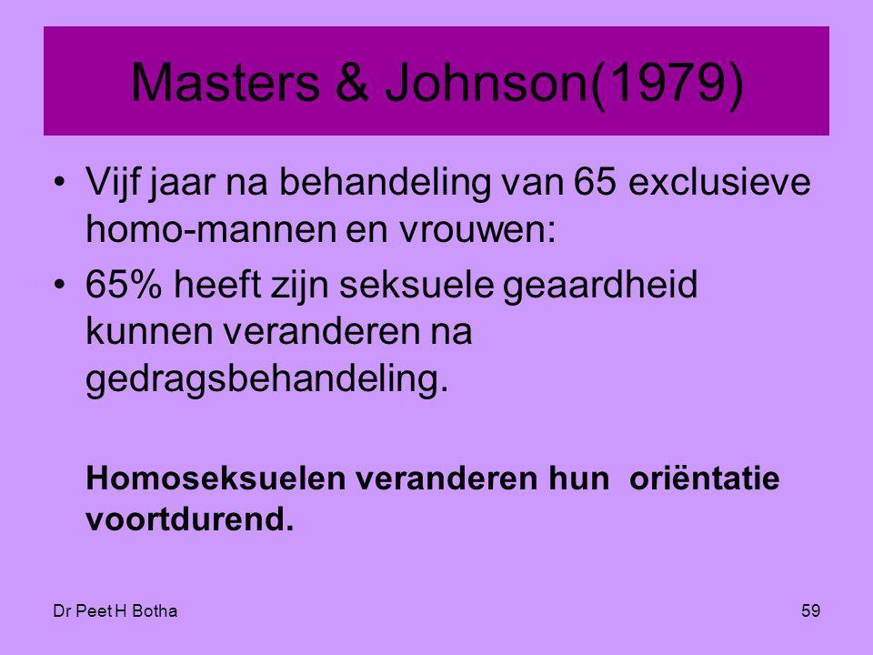 Masters & Johnson(1979) Vijf jaar na behandeling van 65 exclusieve homo-mannen en vrouwen: