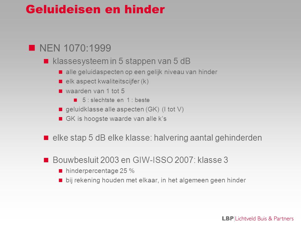 Geluideisen en hinder NEN 1070:1999