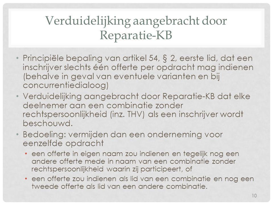 Verduidelijking aangebracht door Reparatie-KB