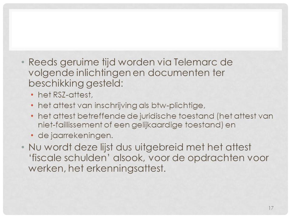 Reeds geruime tijd worden via Telemarc de volgende inlichtingen en documenten ter beschikking gesteld: