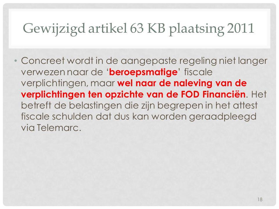 Gewijzigd artikel 63 KB plaatsing 2011