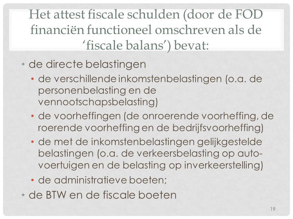Het attest fiscale schulden (door de FOD financiën functioneel omschreven als de 'fiscale balans') bevat: