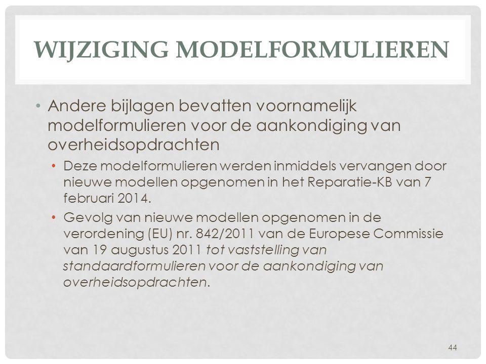 Wijziging modelformulieren