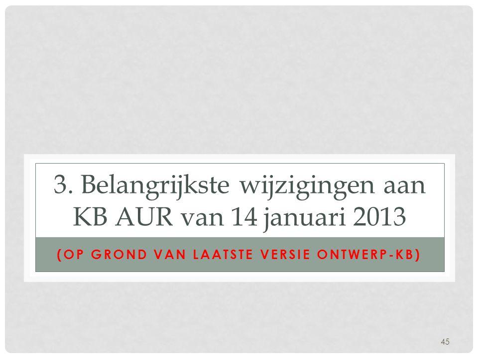 3. Belangrijkste wijzigingen aan KB AUR van 14 januari 2013