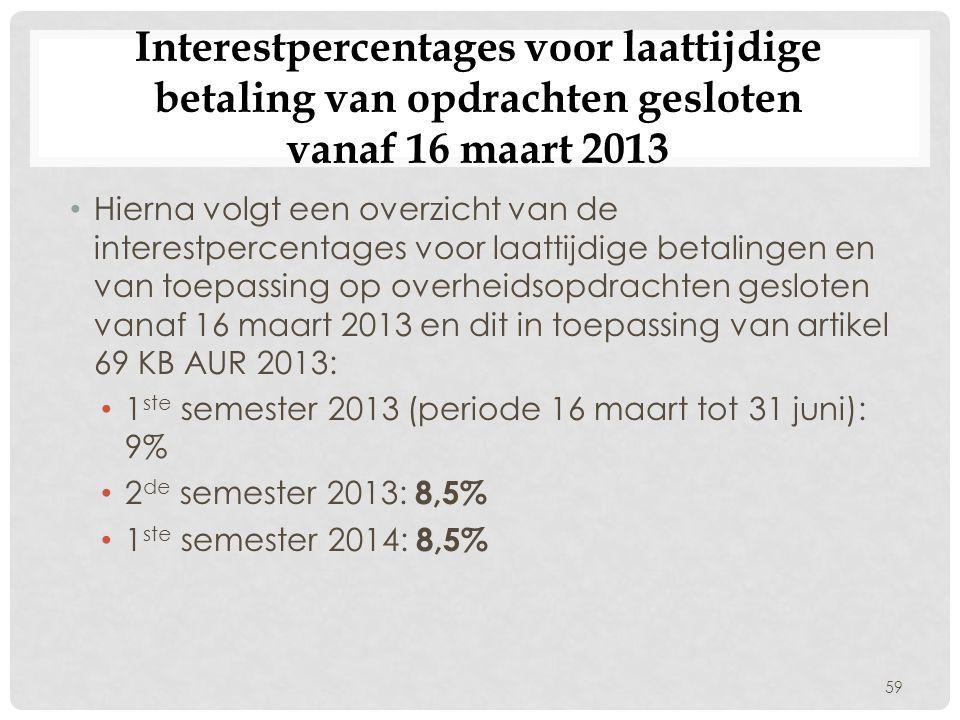 Interestpercentages voor laattijdige betaling van opdrachten gesloten vanaf 16 maart 2013
