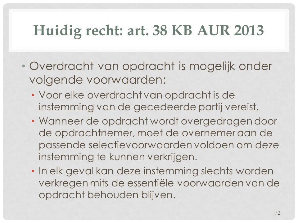 Huidig recht: art. 38 KB AUR 2013