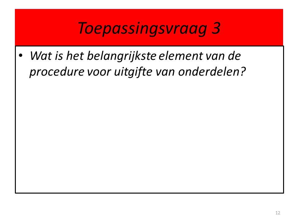 Toepassingsvraag 3 Wat is het belangrijkste element van de procedure voor uitgifte van onderdelen
