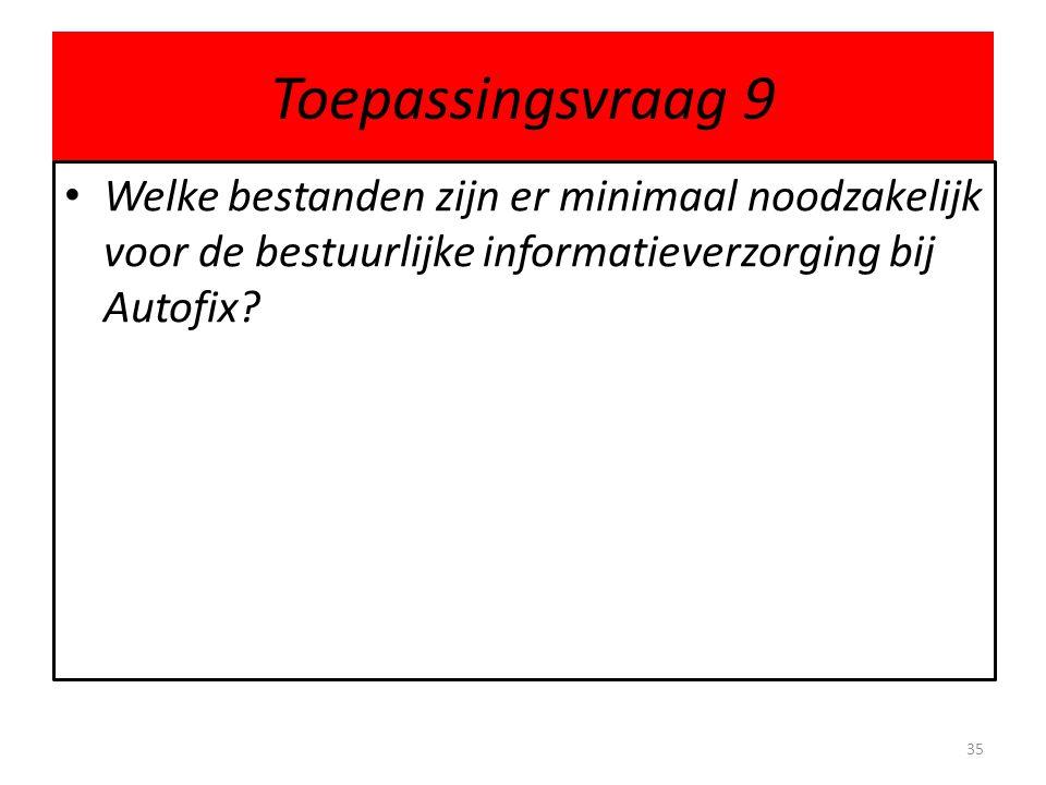Toepassingsvraag 9 Welke bestanden zijn er minimaal noodzakelijk voor de bestuurlijke informatieverzorging bij Autofix