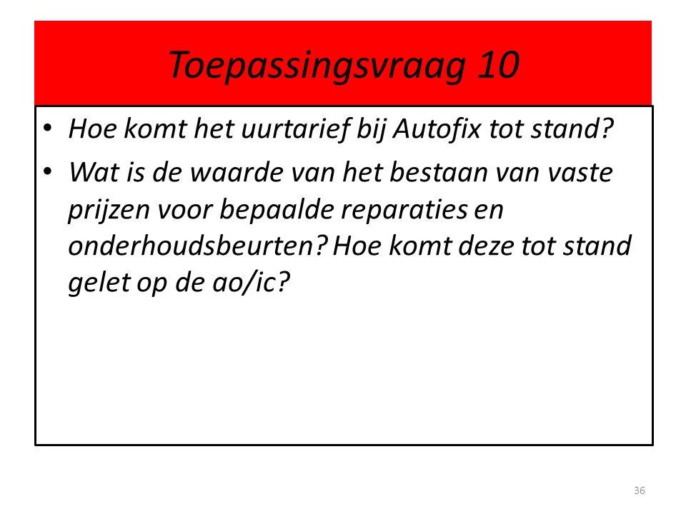 Toepassingsvraag 10 Hoe komt het uurtarief bij Autofix tot stand