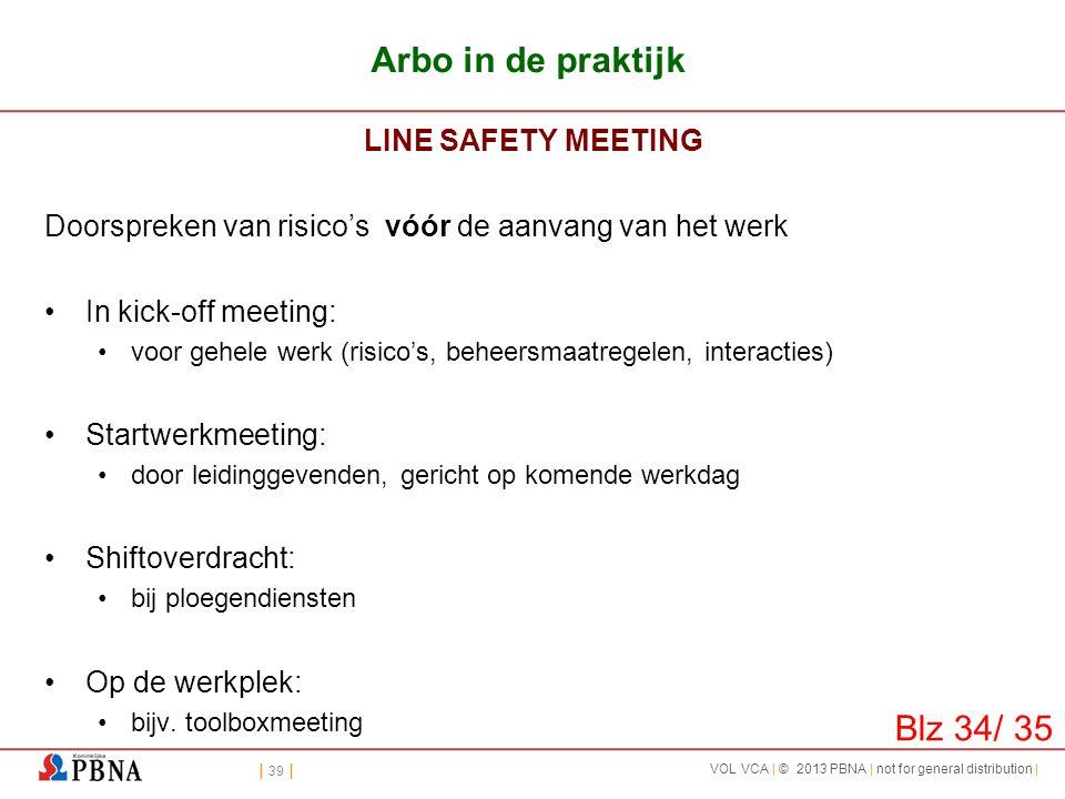 Arbo in de praktijk Blz 34/ 35 LINE SAFETY MEETING