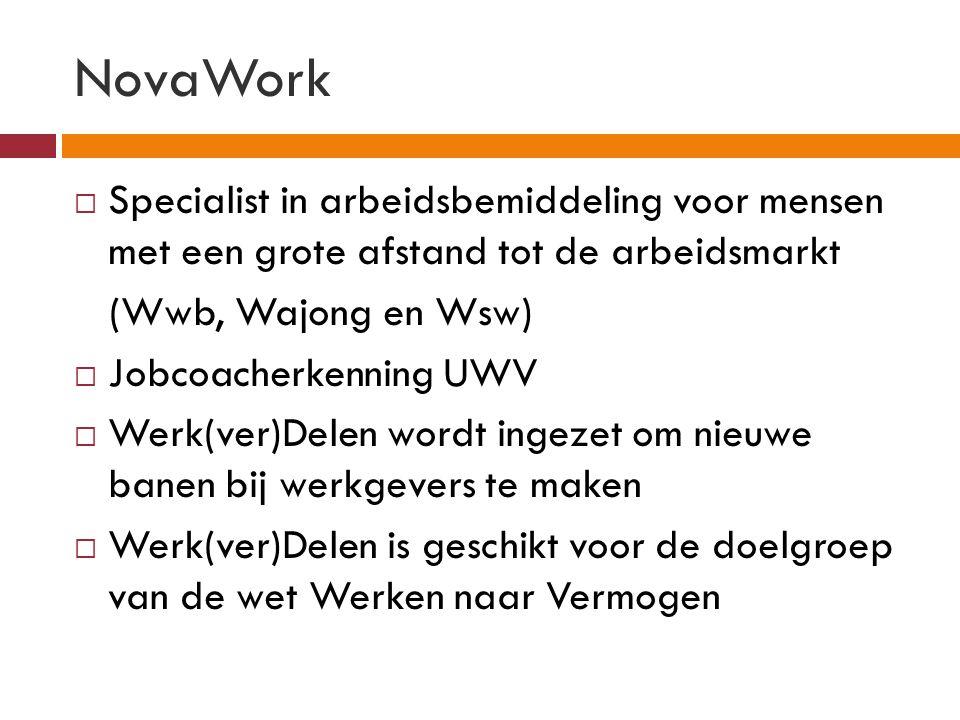 NovaWork Specialist in arbeidsbemiddeling voor mensen met een grote afstand tot de arbeidsmarkt. (Wwb, Wajong en Wsw)