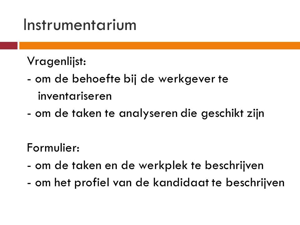 Instrumentarium Vragenlijst: - om de behoefte bij de werkgever te