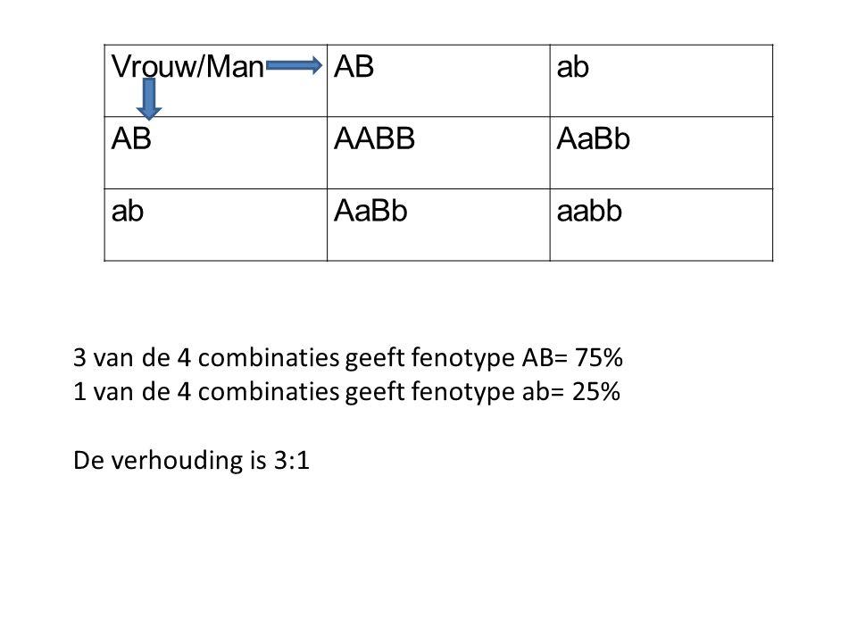 Vrouw/Man AB ab AABB AaBb aabb