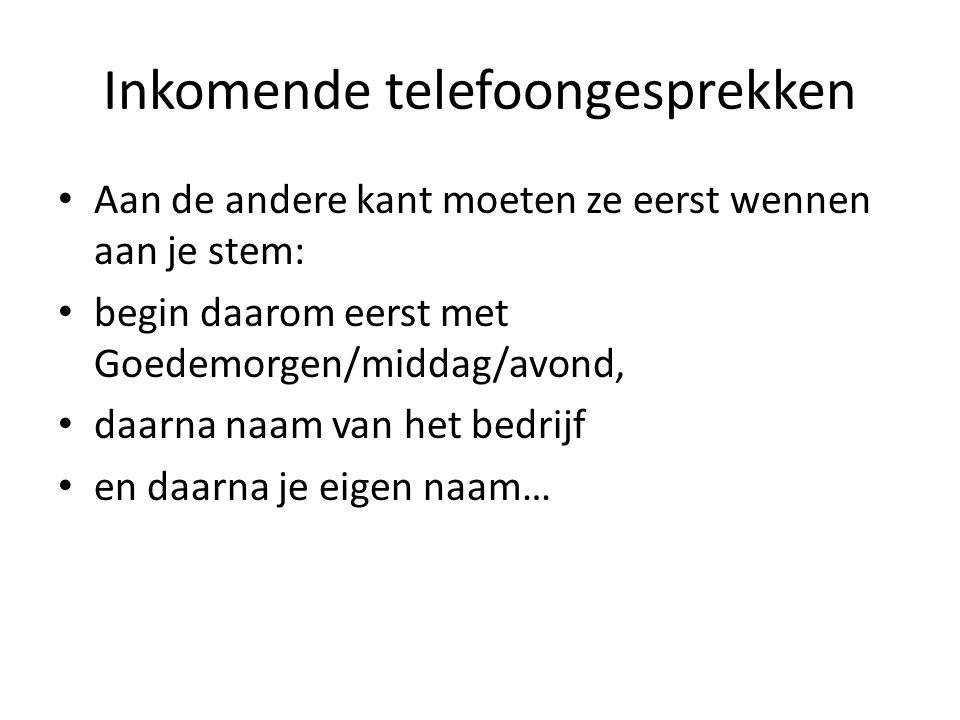 Inkomende telefoongesprekken
