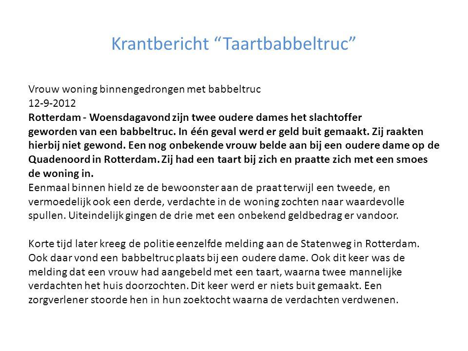 Krantbericht Taartbabbeltruc