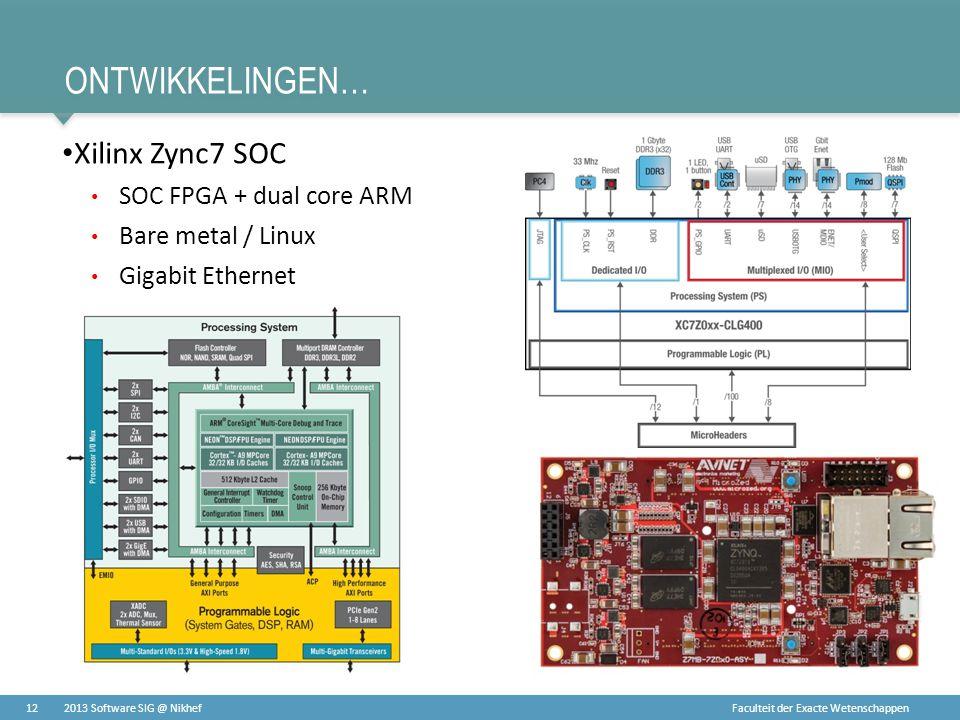 ontwikkelingen… Xilinx Zync7 SOC SOC FPGA + dual core ARM