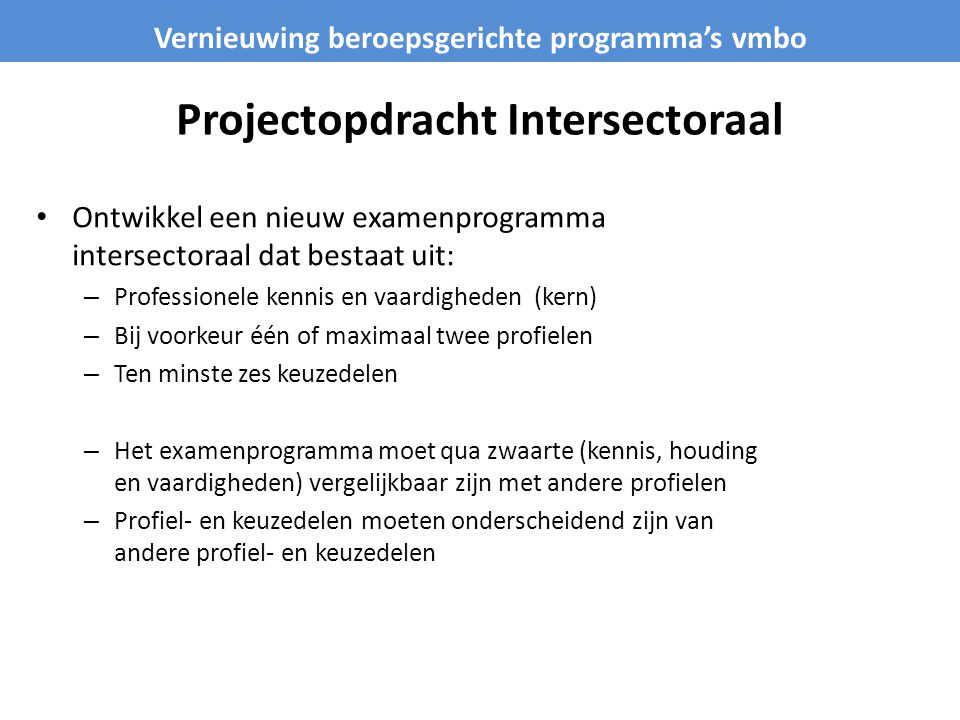 Projectopdracht Intersectoraal