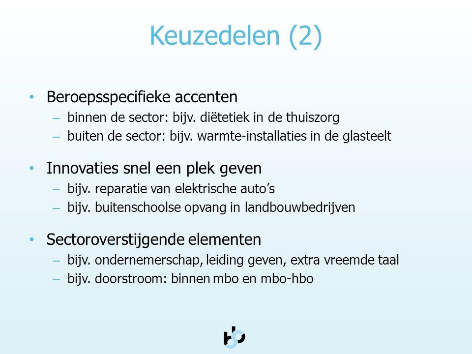 Keuzedelen (2) Beroepsspecifieke accenten