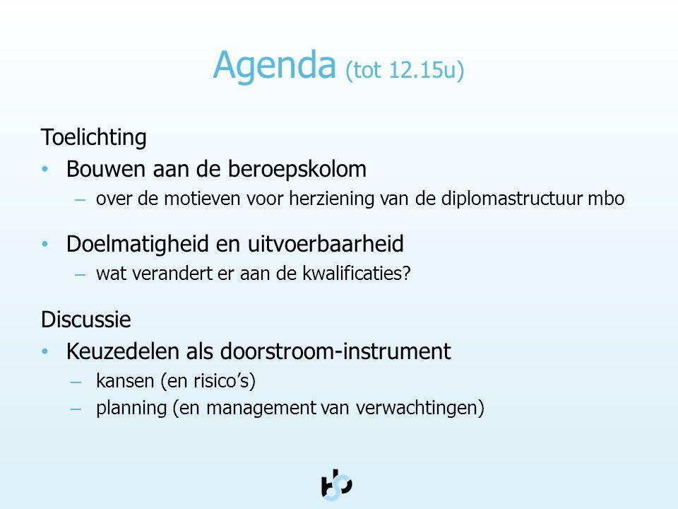 Agenda (tot 12.15u) Toelichting Bouwen aan de beroepskolom