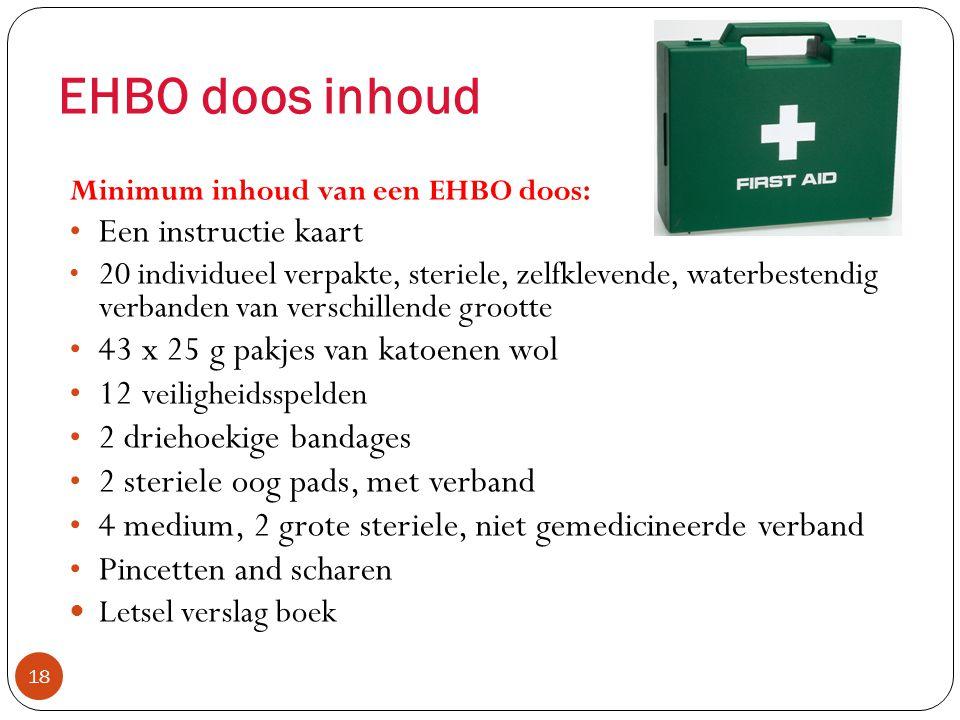 EHBO doos inhoud Een instructie kaart