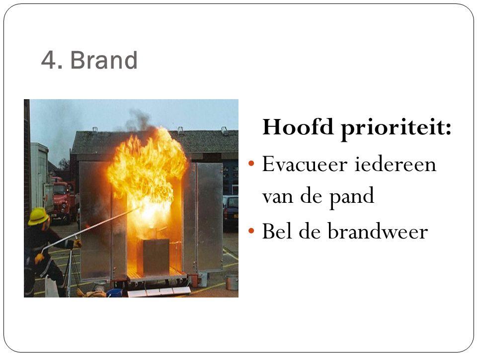 Hoofd prioriteit: 4. Brand Evacueer iedereen van de pand