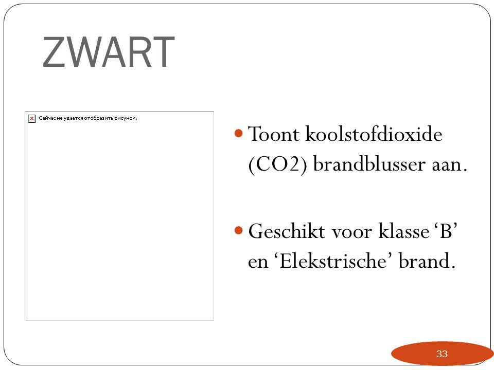 ZWART Toont koolstofdioxide (CO2) brandblusser aan.