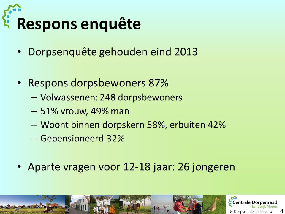 Respons enquête Dorpsenquête gehouden eind 2013