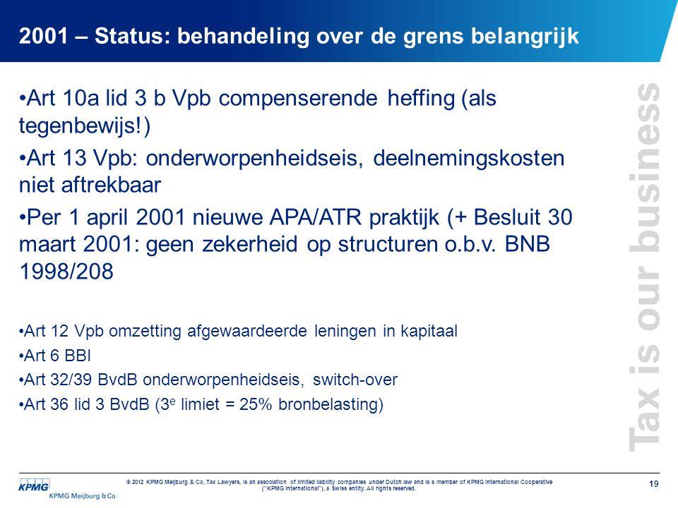 2001 – Status: behandeling over de grens belangrijk