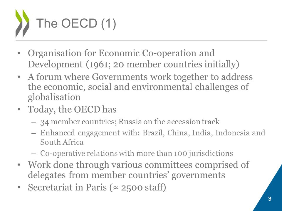 The OECD (1) Organisation for Economic Co-operation and Development (1961; 20 member countries initially)