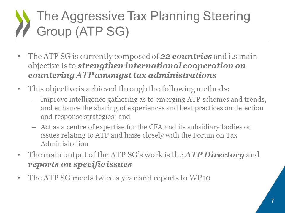 The Aggressive Tax Planning Steering Group (ATP SG)