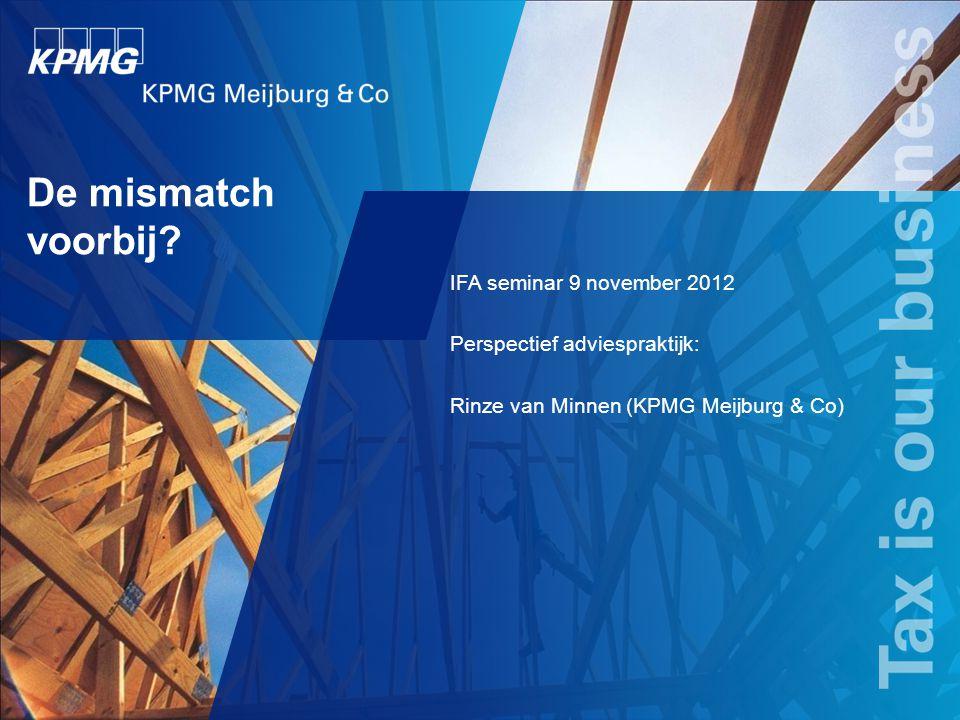 De mismatch voorbij IFA seminar 9 november 2012