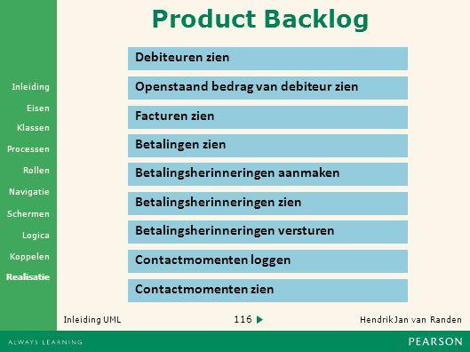 Product Backlog Debiteuren zien Openstaand bedrag van debiteur zien