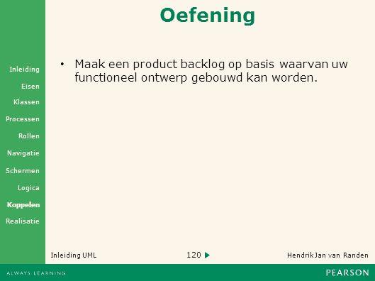 Oefening Maak een product backlog op basis waarvan uw functioneel ontwerp gebouwd kan worden.
