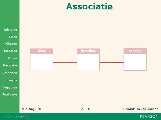 Associatie klant bestelling product