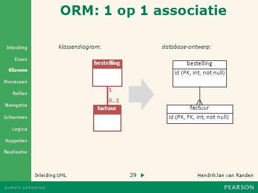ORM: 1 op 1 associatie klassendiagram: database-ontwerp: factuur