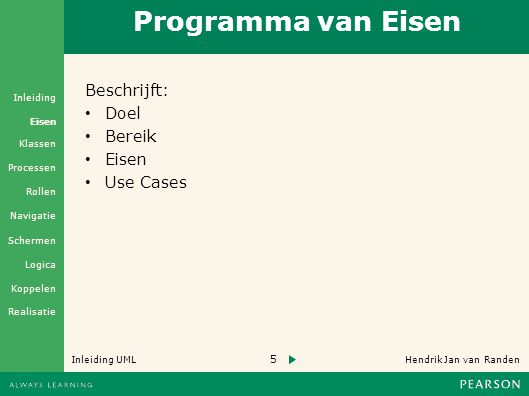 Programma van Eisen Beschrijft: Doel Bereik Eisen Use Cases