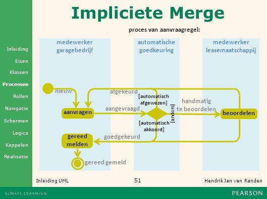 Impliciete Merge proces van aanvraagregel: medewerker garagebedrijf
