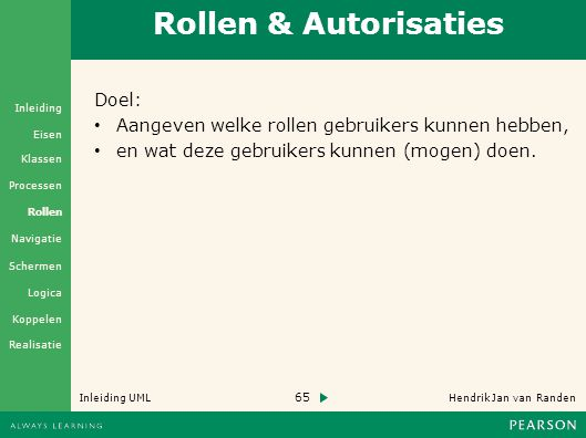 Rollen & Autorisaties Doel: