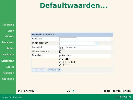 Defaultwaarden... Nieuw leasecontract Kenteken Ingangsdatum :::