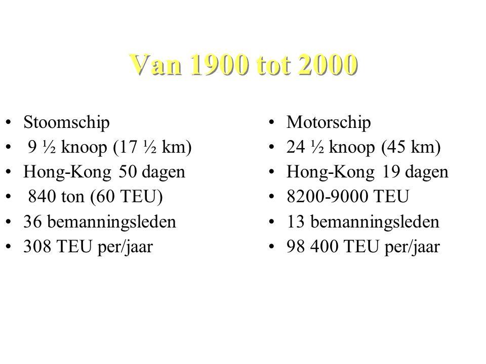 Van 1900 tot 2000 Stoomschip 9 ½ knoop (17 ½ km) Hong-Kong 50 dagen