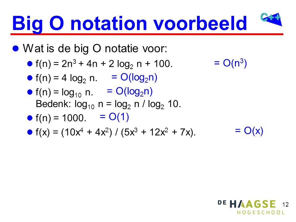 Big O notation De big O notatie wordt gebruikt om de executietijd en het geheugengebruik van algorithmen met elkaar te vergelijken.