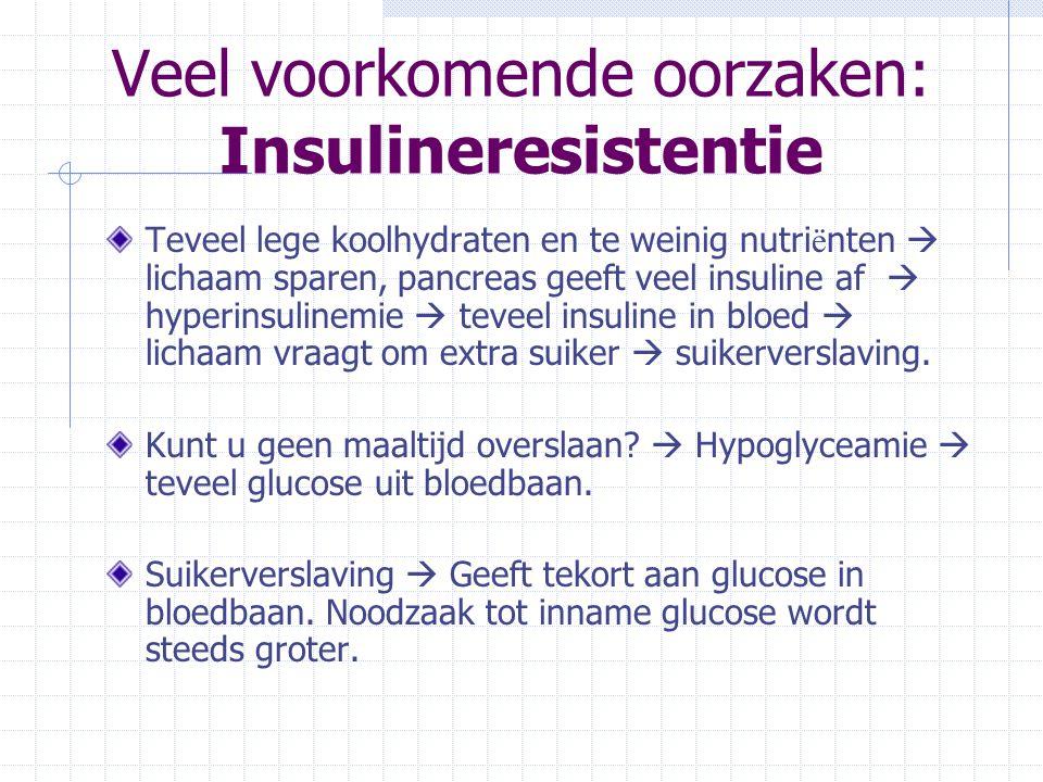 Veel voorkomende oorzaken: Insulineresistentie