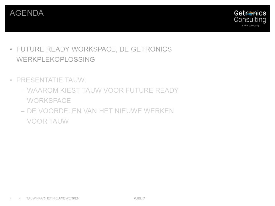 Agenda Future ready workspace, de getronics werkplekoplossing