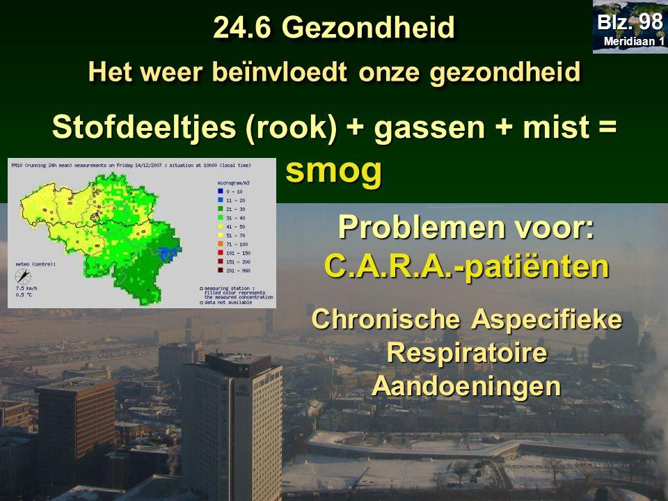 smog Stofdeeltjes (rook) + gassen + mist = Problemen voor: