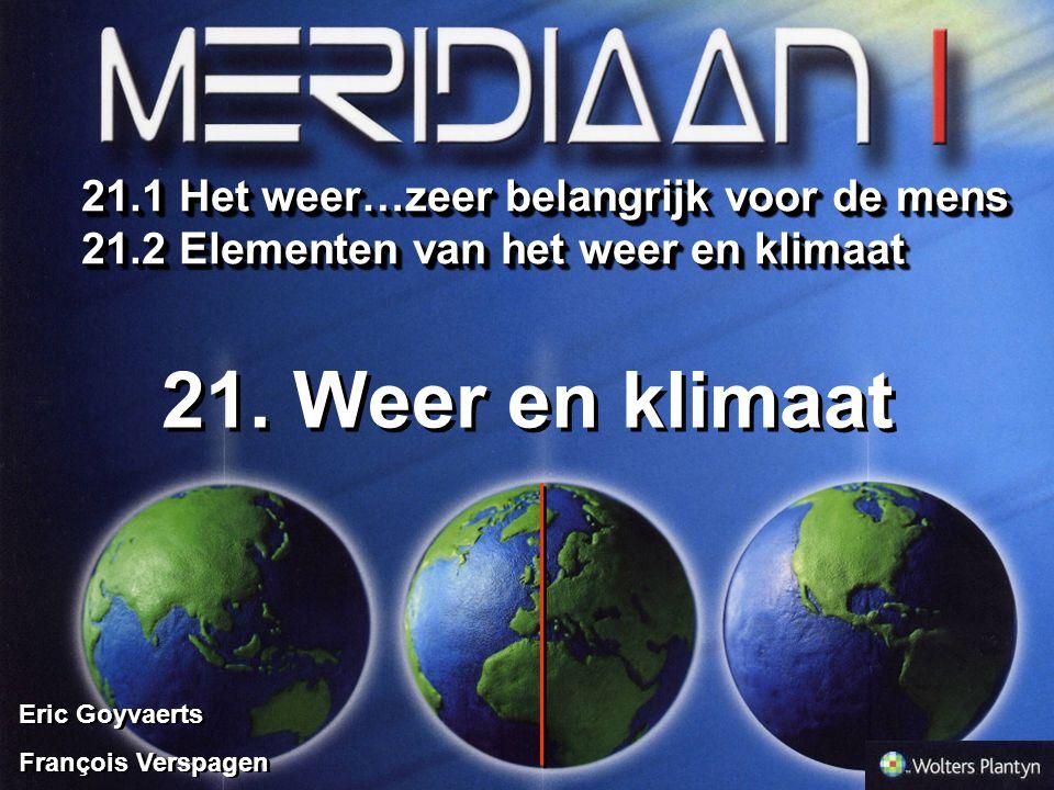 21. Weer en klimaat 21.1 Het weer…zeer belangrijk voor de mens