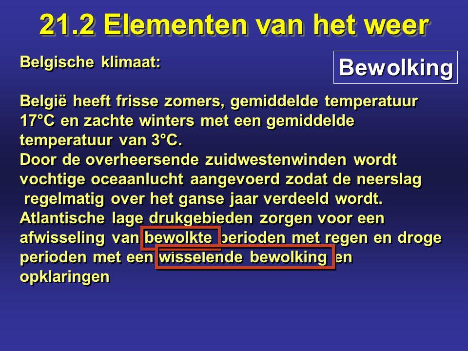21.2 Elementen van het weer Bewolking Belgische klimaat: