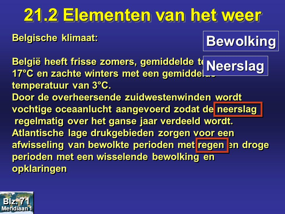 21.2 Elementen van het weer Bewolking Neerslag Belgische klimaat:
