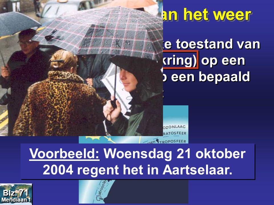 Voorbeeld: Woensdag 21 oktober 2004 regent het in Aartselaar.