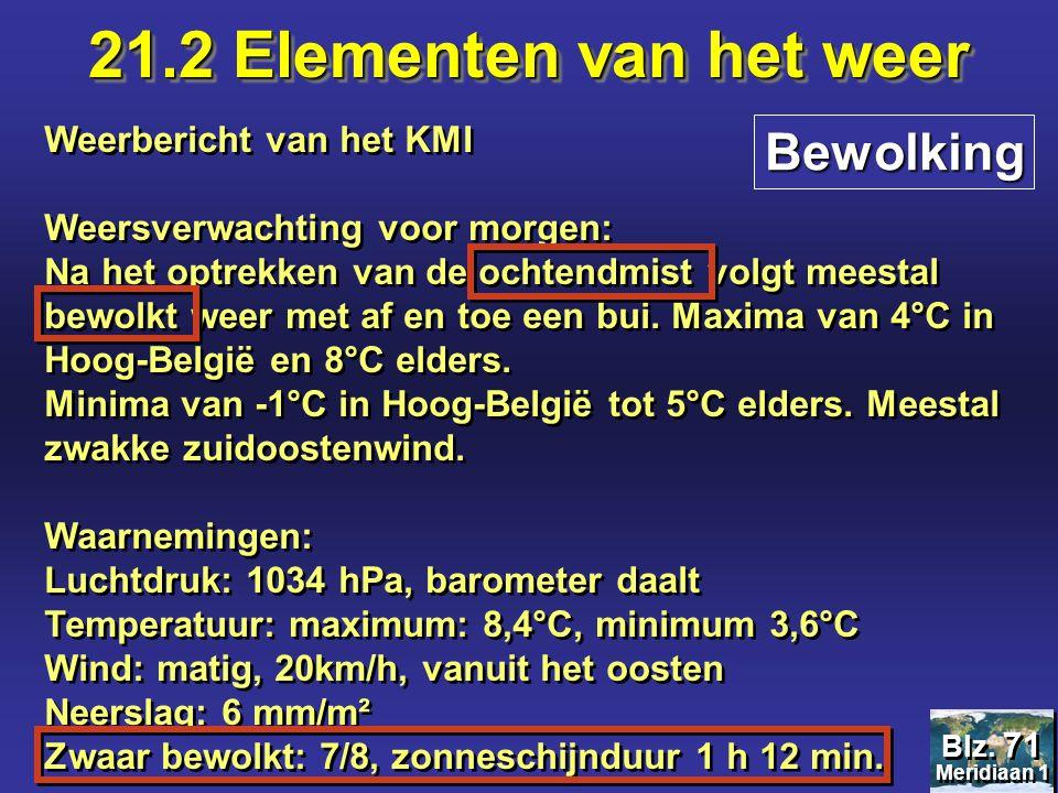 21.2 Elementen van het weer Bewolking Weerbericht van het KMI