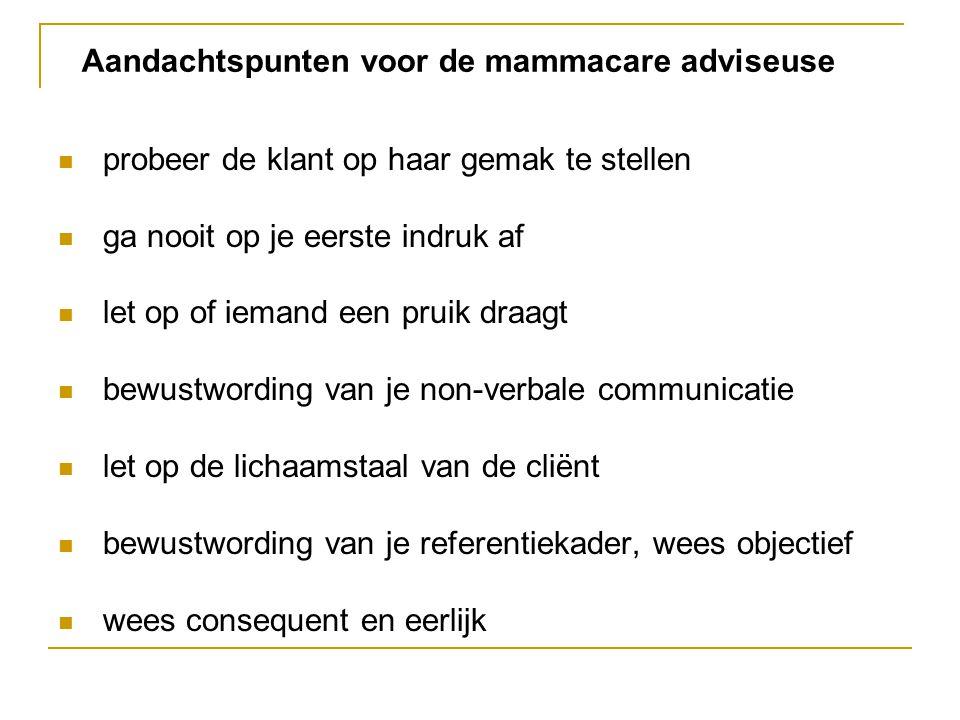 Aandachtspunten voor de mammacare adviseuse